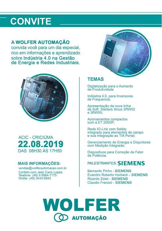 Evento: Indústria 4.0 na Gestão de Energia e Redes Industriais - WOLFER - Automação